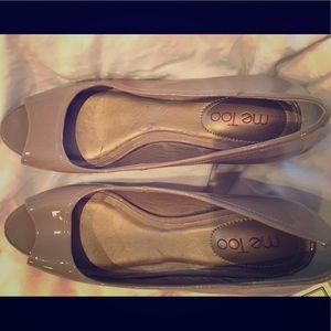 Nude peep toe low wedge shoes